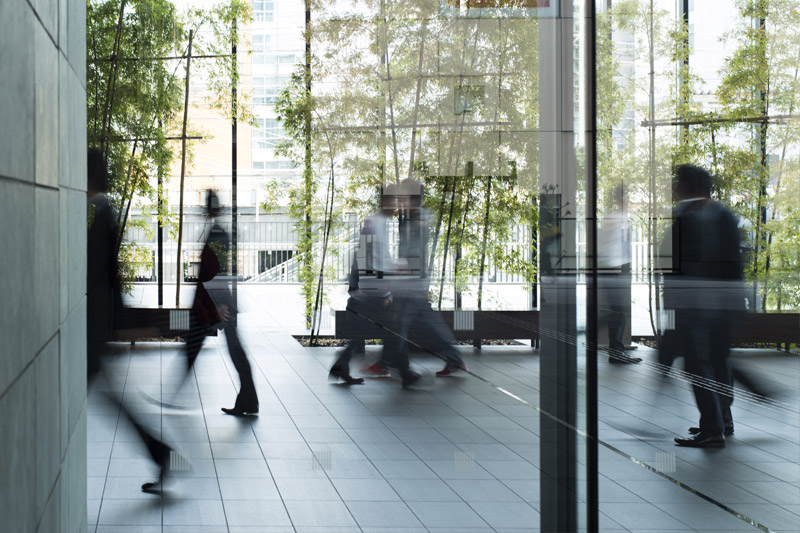 office workers in modern architecture