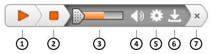 ReadSpeaker audio player, with buttons labelled 1 to 7