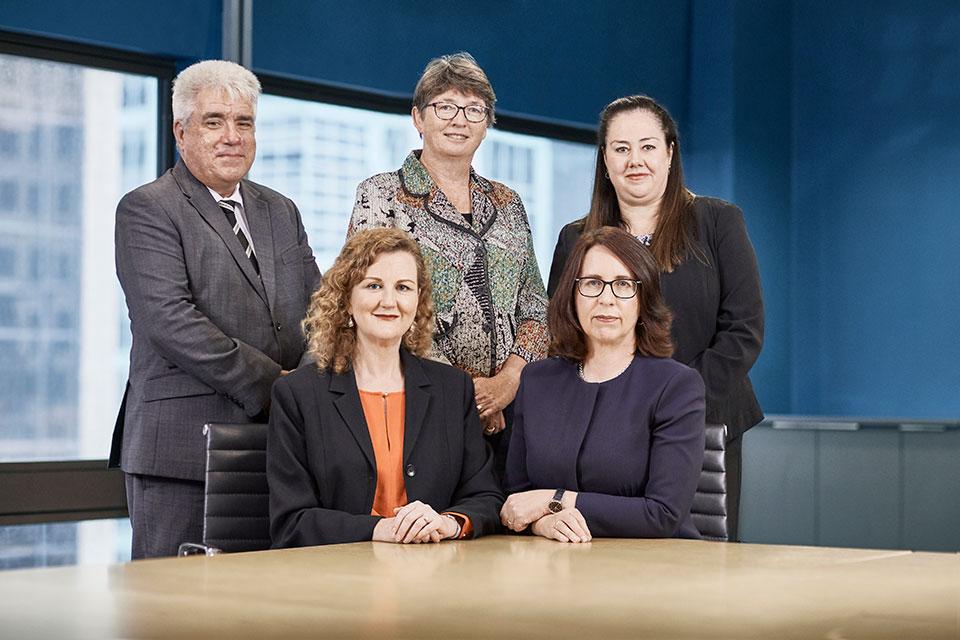 Our Executive. From left to right: David Stevens, Elizabeth Hampton, Ruth Mackay, Angelene Falk, Melanie Drayton.